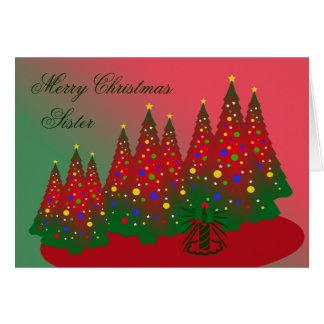 Frohe Weihnacht-Schwester: Roter und grüner Baum Karte