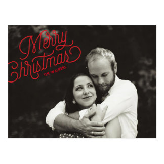 Frohe Weihnacht-Skript-Feiertags-Foto-Postkarte Postkarte