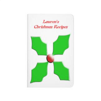 Frohe Weihnacht-Stechpalmen-kundengerechte Taschennotizbuch