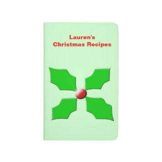 Frohe Weihnacht-Stechpalmen-kundenspezifische Taschennotizbuch
