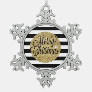 Frohe Weihnacht-Streifen u. Goldverzierung Schneeflocken Zinn-Ornament