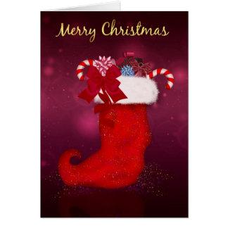 Frohe Weihnacht-Strumpf angefüllt mit Geschenken Grußkarte