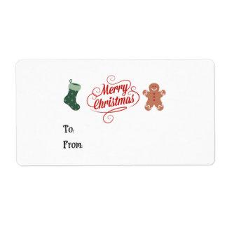 Frohe Weihnacht-Strumpf-Lebkuchen-Mann Versandetiketten