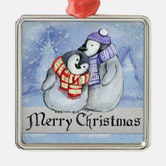 Frohe Weihnacht-süße kleine Winter-Pinguine Silbernes Ornament
