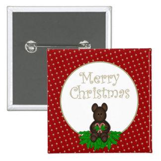 Frohe Weihnacht-Teddybär mit Zuckerstange-Knopf Quadratischer Button 5,1 Cm