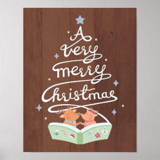 Frohe Weihnacht-Typografie-niedliches Ren-Plakat Poster
