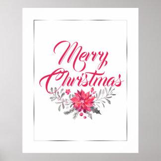 Frohe Weihnacht-Typografie u. Blumenstrauß No.4 Poster