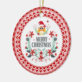Frohe Weihnacht-Typografie u. Keramik Ornament
