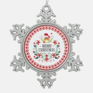 Frohe Weihnacht-Typografie u. Schneeflocken Zinn-Ornament