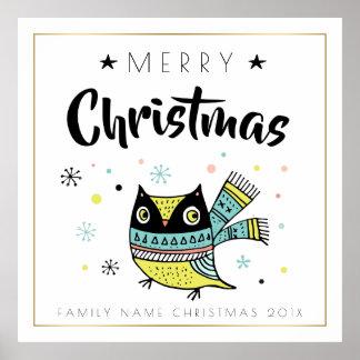 Frohe Weihnacht-Typografie u. Weihnachtseule Poster