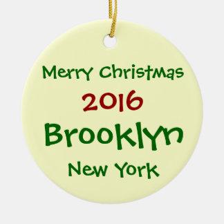 FROHE WEIHNACHT-VERZIERUNG 2016 NEW YORK BROOKLYN RUNDES KERAMIK ORNAMENT