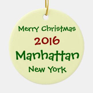 FROHE WEIHNACHT-VERZIERUNG 2016 NEW YORK MANHATTAN RUNDES KERAMIK ORNAMENT