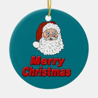 Frohe Weihnacht-Weihnachtsmann-Verzierung Rundes Keramik Ornament