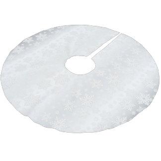 Frohe Weihnacht-weißer Schneeflocke-Satin Polyester Weihnachtsbaumdecke