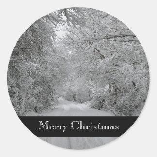 Frohe Weihnacht-Winter-Aufkleber Runder Aufkleber
