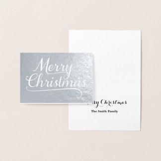 Frohe Weihnacht-Wort-Kunst-Silber Folienkarte