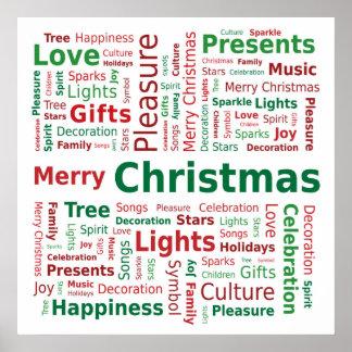 Frohe Weihnacht-Wort-Wolke in den grünen roten Poster