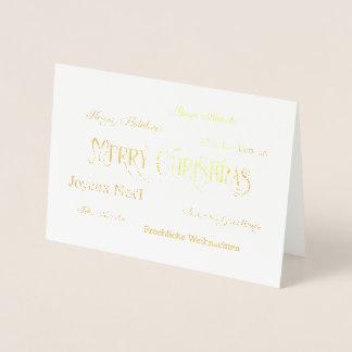 Frohe Weihnacht-Wort-Wolken-Folien-Gruß-Karte Folienkarte