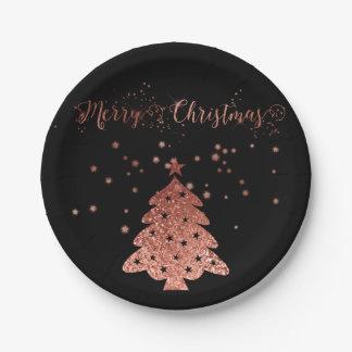 Frohe Weihnacht-Zauber und Glitzer-Rosa und Pappteller