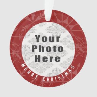Frohe Weihnachten 1 Foto-rote Schneeflocke/Text Ornament