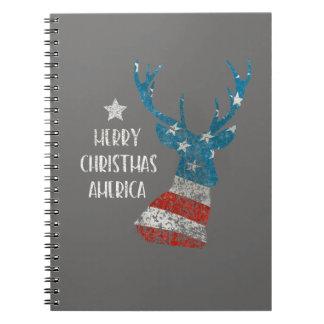 Frohe Weihnachten Amerika. Ren-Flagge. Beunruhigt Notizblock