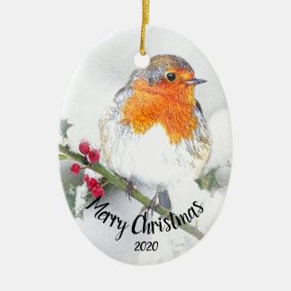 Frohe Weihnachten Aquarell-datiertes Keramik Ornament