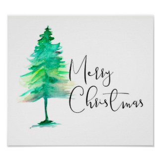 Frohe Weihnachten, Aquarell Pinetree, Skript Poster