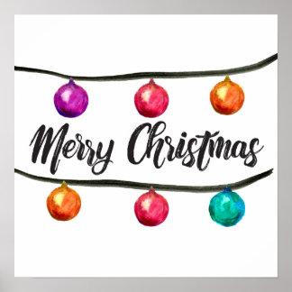 Frohe Weihnachten, Aquarell-Verzierung, Skript Poster