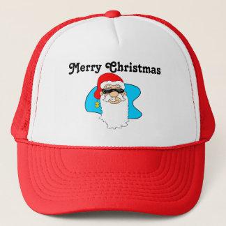Frohe Weihnachten coole Sankt in den Sonnenbrillen Truckerkappe