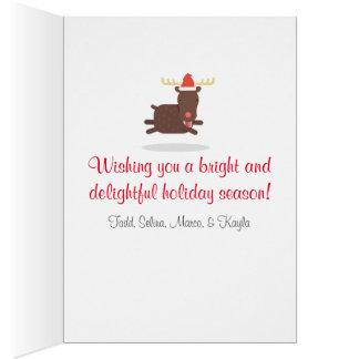 Frohe Weihnachten fetter Sankt und Ren-Feiertag Karte