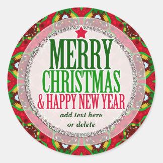 Frohe Weihnachten glücklicher NewYear runder Runder Aufkleber