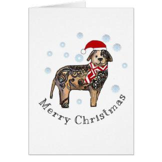Frohe Weihnachten, goldener Labrador Karte