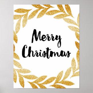 Frohe Weihnachten - Goldlorbeer-Kranz - Plakat