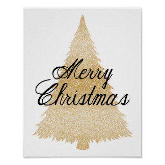 Frohe Weihnachten - Goldweihnachtsbaum - Plakat