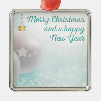 Frohe Weihnachten, guten Rutsch ins Neue Jahr Quadratisches Silberfarbenes Ornament