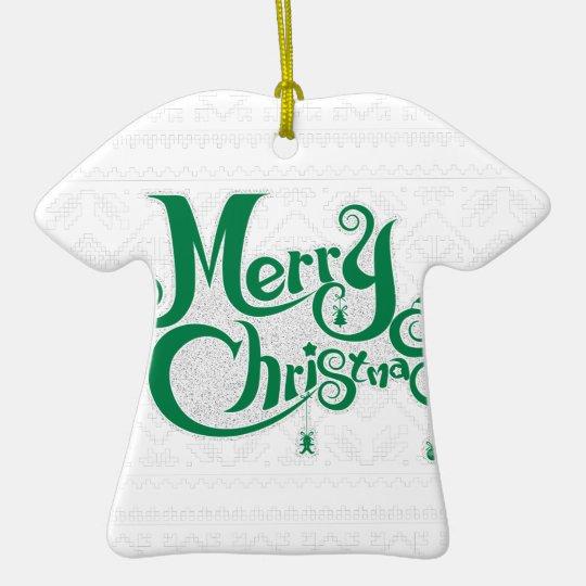 Frohe Weihnachten Keramik T-Shirt-Ornament