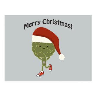 Frohe Weihnachten! Laufende Artischocke Sankt Postkarte