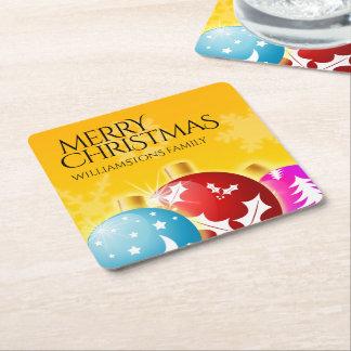 Frohe Weihnachten mit festlichen Rechteckiger Pappuntersetzer