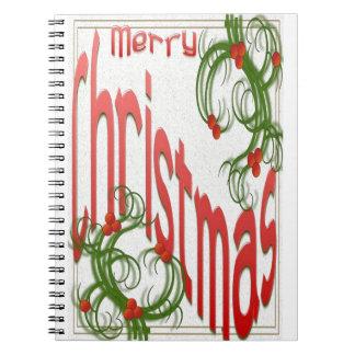 Frohe Weihnachten mit stilisierter Stechpalme Spiral Notizblock