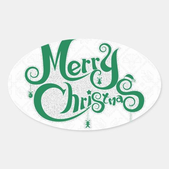 Frohe Weihnachten Ovaler Aufkleber