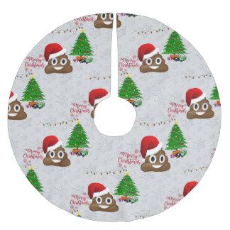 frohe Weihnachten poo emoji Baumrock Polyester Weihnachtsbaumdecke