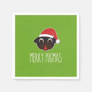 Frohe Weihnachten Pugmas schwarzes Papierserviette