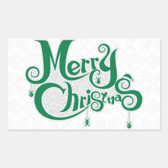 Frohe Weihnachten Rechteckiger Aufkleber