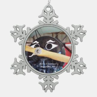 Frohe Weihnachten Rhinebeck, NY Schneeflocken Zinn-Ornament
