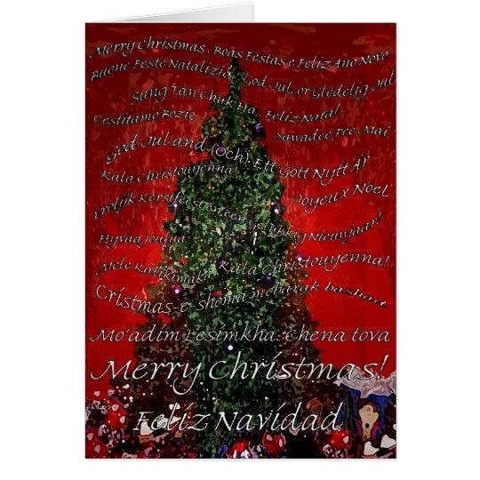 Frohe Weihnachten ringsum die Welt Grußkarte
