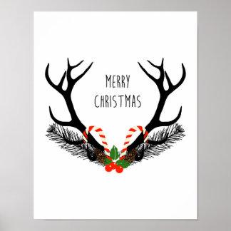 Frohe Weihnachten - Rotwild-Geweihe - Plakat