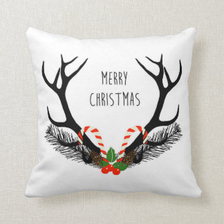 Frohe Weihnachten - Rotwild-Geweihe - Wurfs-Kissen Kissen