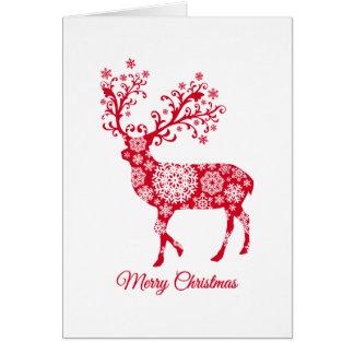 Frohe Weihnachten, Rotwild mit Schneeflocken Grußkarte