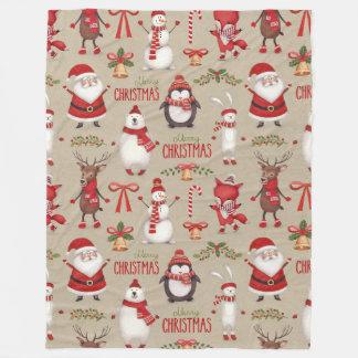 Frohe Weihnachten Sankt und Freunde Fleecedecke