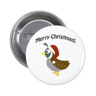 Frohe Weihnachten! Sankt-Wachteln Runder Button 5,7 Cm